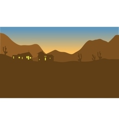 View house on the mountains of silhouette vector
