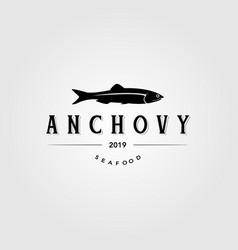 Vintage anchovy fish logo label emblem packaging vector