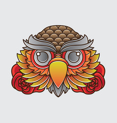 vintage owl head tattoo design vector image