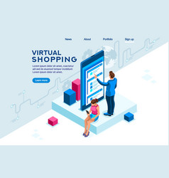 virtual shopping interface vector image