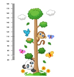 wall meter with three and wild animals vector image