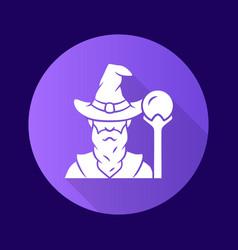 Wizard purple flat design long shadow glyph icon vector
