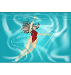 Woman under water vector