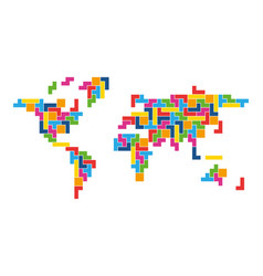 World map mosaic of colorful tetris blocks flat vector