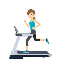 young woman on treadmill running excercise vector image