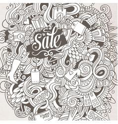Cartoon cute doodles hand drawn shopping vector
