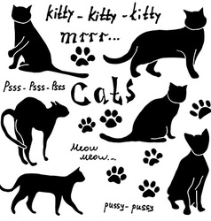 Hand drawn Sketch cats silhoets and traces vector image vector image