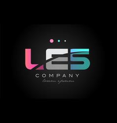 les l e s three letter logo icon design vector image