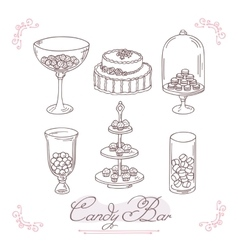 Set of candy bar objects Bakery goods clip art vector image