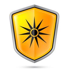 warning sign on shield indicating warning of vector image vector image