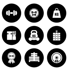 weight icons set vector image vector image