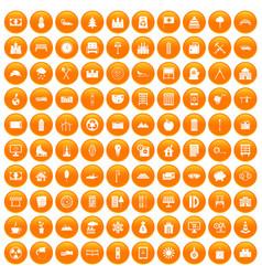 100 villa icons set orange vector