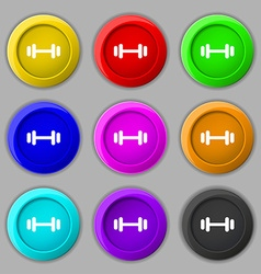 barbell icon sign symbol on nine round colourful vector image