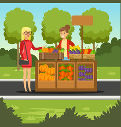 cheerful farmer woman selling vegetables on her vector image vector image