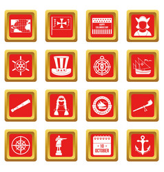 Columbus day icons set red vector