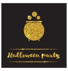 Halloween gold textured pot icon vector image vector image
