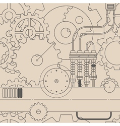 horizontal line steampunk gear seamless pattern vector image vector image