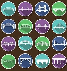 Isolated bridges icons set vector