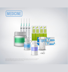 realistic medical supplies background vector image vector image