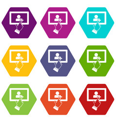touch screen tablet click icon set color vector image