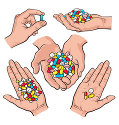 hand drawn hands holding piles of colorful pills vector image vector image