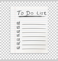 Realistic line paper note to do list icon with vector