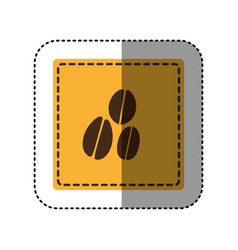 sticker yellow square with coffee beans vector image vector image