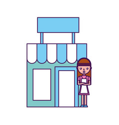 Store building front with housewife vector