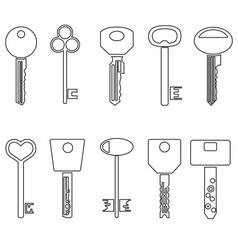 various black outline keys symbols for open a lock vector image vector image