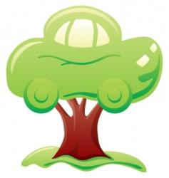 car on tree vector image