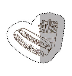 figure hot dog and fries french icon vector image vector image