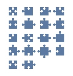 Jigsaw Puzzle Blank Constructor Total Parts Set vector image