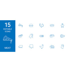 15 meat icons vector