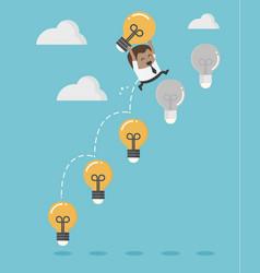 african businessman up ladder light bulb vector image