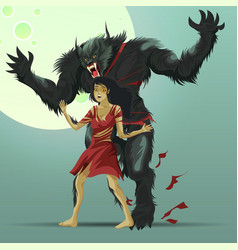 Angry werewolf monster turning under full moon vector