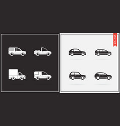 big set of car icons in black and white vector image