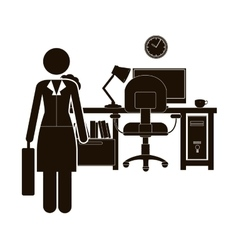 Black silhouette woman administrator in office vector