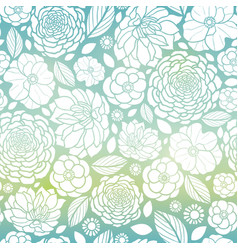 blue and white mosaic gradient flowers vector image