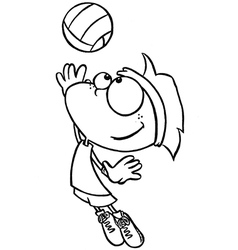 Boy playing volleyball vector image