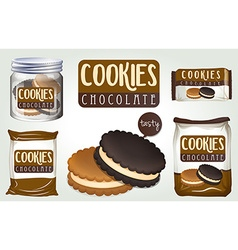 Chocolate cookies in different packages vector