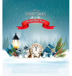 christmas background with a lantern and a vector image