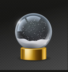christmas globe empty snowglobe with snow magic vector image