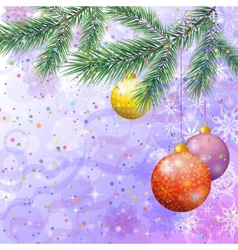 Christmas spruce fir tree with ornaments vector image
