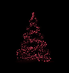 christmas tree card background red christmas tree vector image