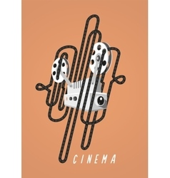 Cinema Vintage poster with movie projector and vector image