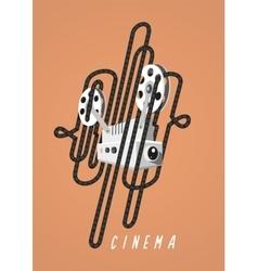 Cinema vintage poster with movie projector vector