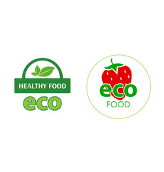 circle label eco food with red strawberry on white vector image