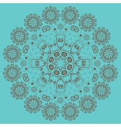 Circular ornament on turquoise background vector