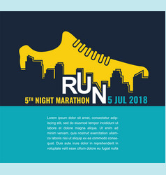 City marathon poster - running sport shoe and vector
