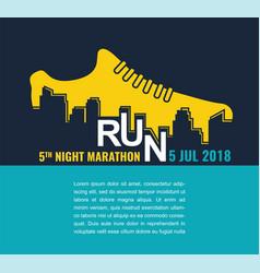 City marathon poster - running sport shoe vector